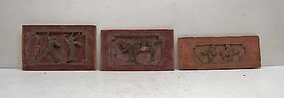 Lot of 3 Antique 19th Century Chinese Furniture Wood Panels Red Buddha Feng Shui