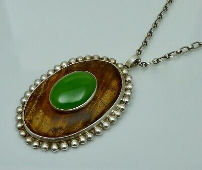 Native American Sterling Silver Nephrite Wood Large Necklace Pendant Vintage Old