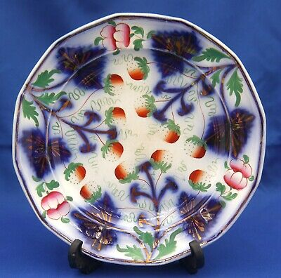 Cobalt Blue Leaves Gold Fruits Flowers Japanese Porcelain Plate 19th C Fukagawa