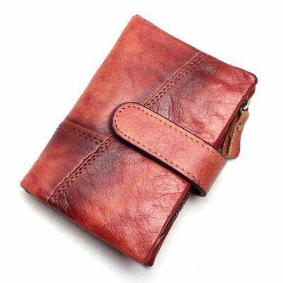 Men Wipe Color Wallet  Leather Purse Card Holder Handmade 100% Genuine Leather