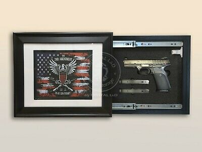 Hidden Storage Photo Frame for Gun and Valuables / BLACK