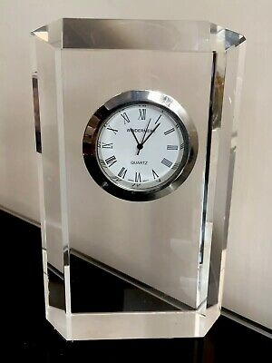 Beautiful Windermere Crystal Glass Mantel Clock Chrome Bezel Working Order