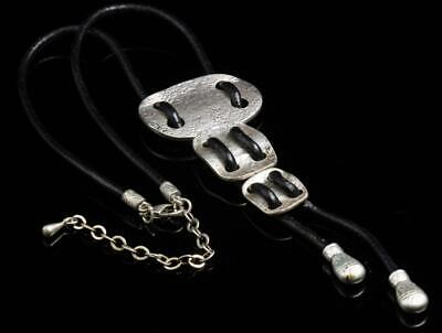 Ethnic Style Rectangle Pendant Old Silver Plated Choker Leather Necklace A876