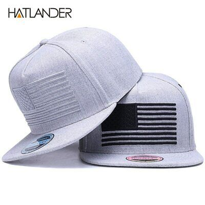[HATLANDER] Raised flag embroidery cool flat bill baseball cap mens gorras