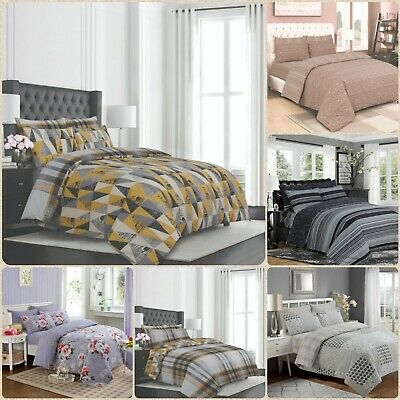 4PCs Cotton Bedding Set Duvet/Quilt Cover Fitted Sheet and Pillow Cases All Size