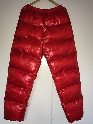 Shiny wet look down thicken trousers red XL