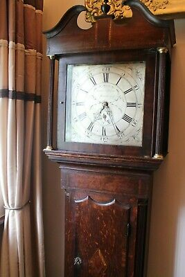 longcase clock George III James Stoke Stourbridge dated C1767 30hour silver dial