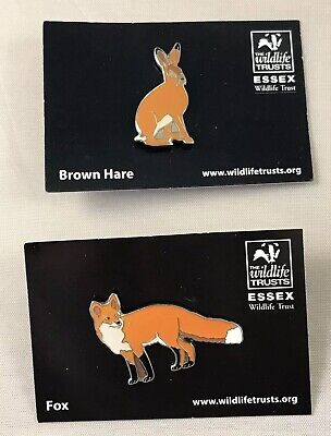 Essex Wildlife Trust Pin Badges - Brown Hare & Red Fox  NOT RSPB
