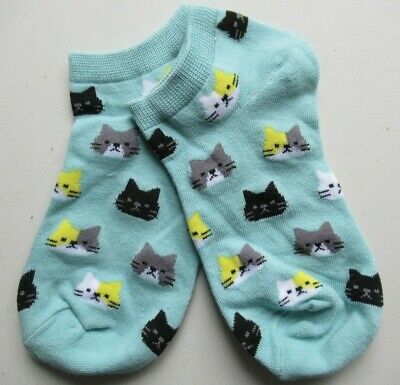 NEW Ladies Girls (1 Pair) Black Tabby Calico Cat Face Trainer Socks FREE POSTAGE