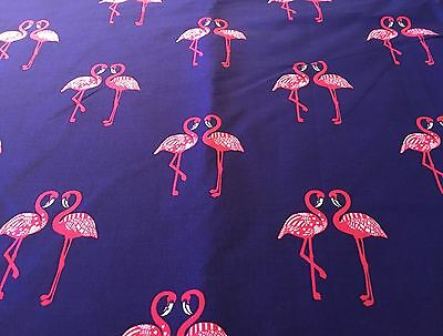 material Fabric Fat quarter crafts Pink flamingos on dark blue sewing