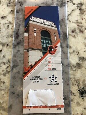 Baltimore Orioles Astros Ticket Stub 8/10/19 Correa Longest HR CamdenYards