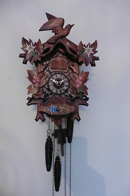 Vintage Hubert Herr Black Forest Cuckoo Clock Swiss Music Box Moving Animals