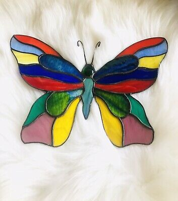 """10"""" Painted Stained Glass and Iron Butterfly Suncatcher Wall Decor"""