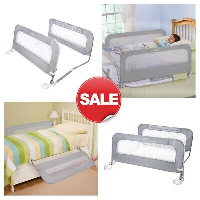 "Double Sided Swing Down Bed Rail Guard Child Baby Kids Safety Grey 42.5"" x 21"""