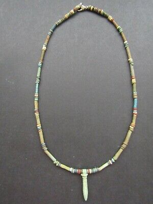 NILE  Ancient Egyptian Papyrus Column Amulet Mummy Bead Necklace ca 600 BC
