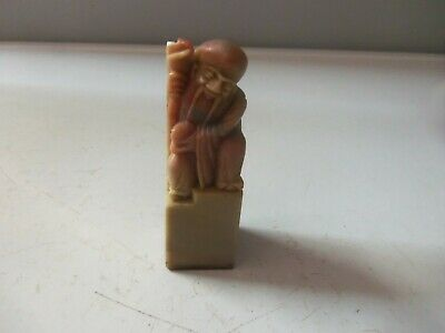Vintage Hand Carved Chinese Ink Stone Stamp China Long Life Old Man w/ Box