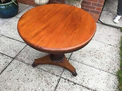 Victorian Mahogany Tilt Top Breakfast Table Single Pedestal Lovely Condition