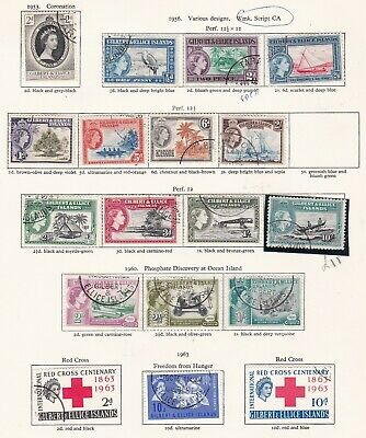 Commonwealth. Gilbert and Ellice Islands  THREE PAGES. 1953-65 issues.  Used.