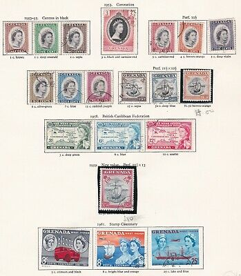 British Commonwealth. Grenada  TWO PAGES. 1953-65 issues.  Used.