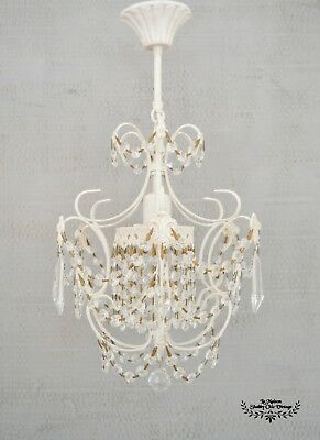 Pair of Chandeliers French Chateau Vintage Fleur Ceiling Lights 4 Tier Garland