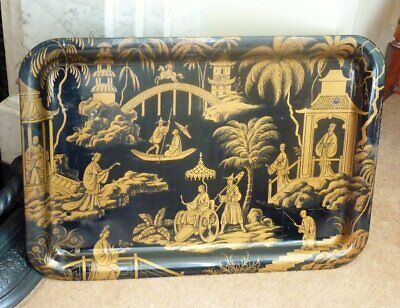 Vintage Oriental Chinoiseire Tin Tray Folding Table Worcester Ware black & gold