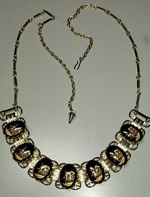 Vintage Oriental/Asian Black and Gold Intaglio Book Chain Necklace 1950's