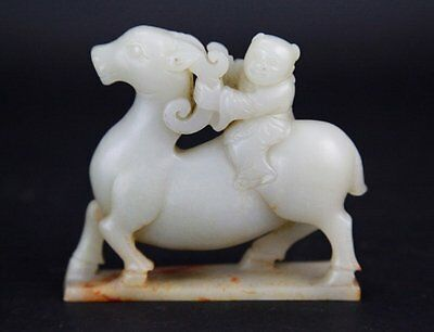 antique style Chinese nephrite hetian Jade Carving ram boy qing dynasty