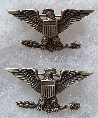 Insignes en argent COLONEL US ARMY WWII Grade USA ORIGINAL STERLING SILVER RANK