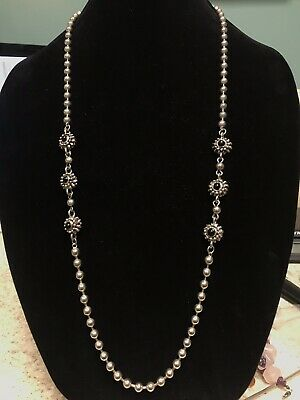 "103g Heavy Vintage Sterling Silver Ornate Statement Necklace 36"" Long"