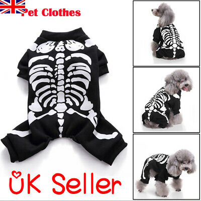 Halloween Pet Clothes Cat Dog Skeleton Print Cosplay Costume Apparel Coat Romper