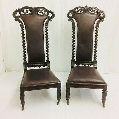 Rare Pair Of Exceptional Victorian Gothic Ornately Carved Rosewood Church Chairs