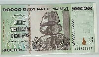 50 Trillion Dollars Zimbabwe Banknote AA 2008 Authentic UNC Currency