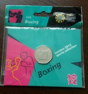 London 2012 Olympic 50 Pence Coin - Boxing,2011 .Royal Mint Pack, B.unc.
