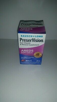 Brand NEW Bausch + Lomb PreserVision AREDS Soft Gels Eye Vitamin Mineral 60 7/20