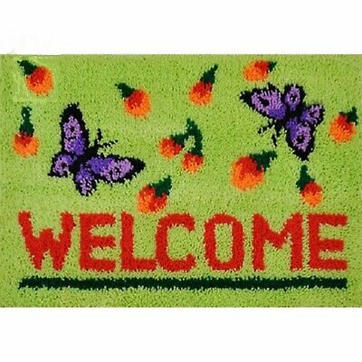 BUTTERFLY WELCOME LATCH HOOK RUG KIT from UK Seller, BRAND NEW