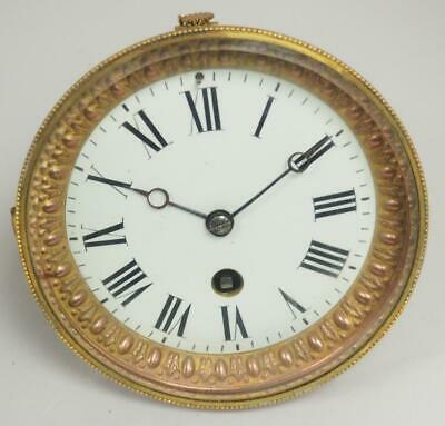 Antique French 8 Day Clock Movement White Porcelain Dial Timepiece Movement