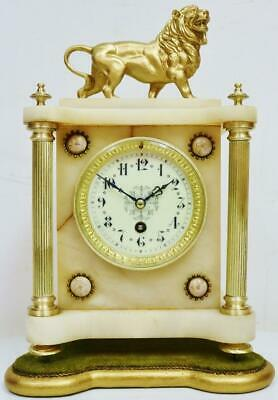 Antique French 8 Day Alabaster & Gilt Metal Lion Figural Timepiece Mantle Clock
