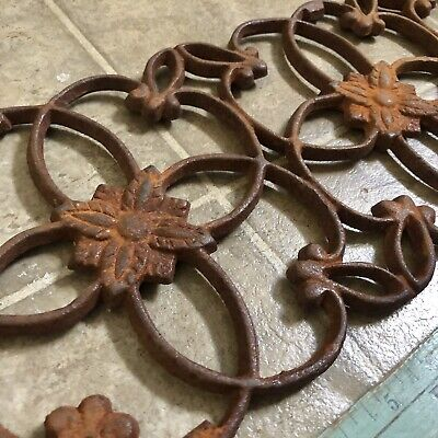 Antique Victorian Floral Cast Iron Panel Grille Grate Salvage Ornament Decor Old