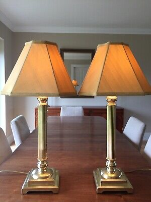 Pair of Vintage John Lewis Solid Brass Corinthian Column Lamps With Silk Shades