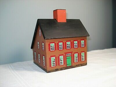 Windfield Designs Wooden Saltbox House Bank signed H Musser 1984 Glens Falls,NY