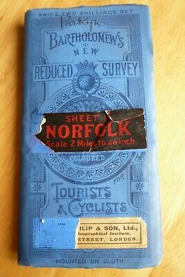 Vintage Bartholomews Sheet 15 Norfolk 2 miles to the inch Tourists and Cyclists