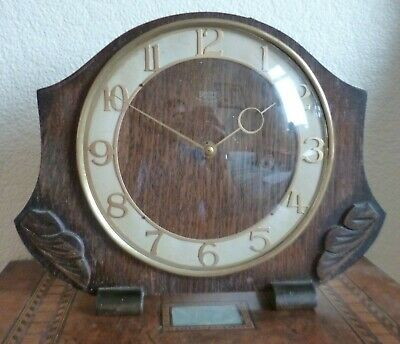 Vintage 1930's/40's Smiths Oak Cased Mechanical Mantel Clock-Working