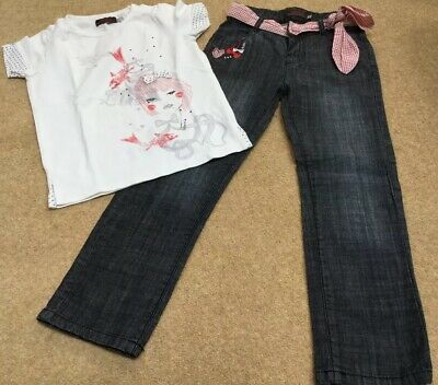 Catimini Girls Spirit City Top And Jeans part Set )Age 6 EUC