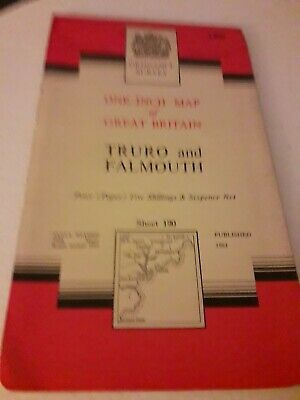 "VINTAGE Truro&Falmouth 1"" Ordnance Survey Map Sheet 190 - 7th Series 1961 Paper"