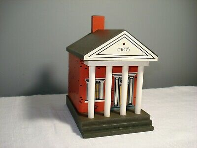 Windfield Designs Wooden Bank Building Bank signed H Musser 1987 Glens Falls,NY