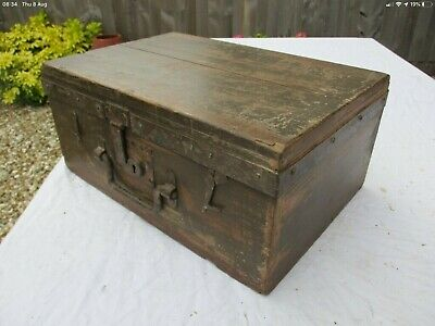 Vintage old pine chest with iron hinges features with FREE LONDON DELIVERY