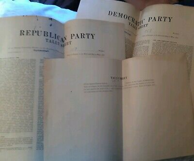 Democratic Republican Special Election Tally Sheets may 16 1924 Multnomah Oregon