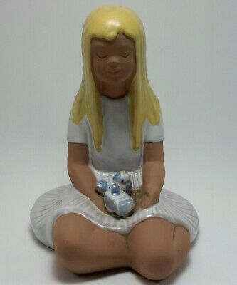 Jie Gantofta Blonde Girl w/ Birds Ceramic Sculpture Edit Risberg Sweden, Signed.
