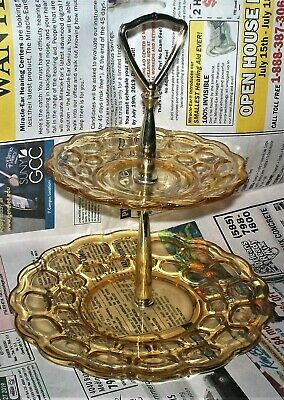 60's FEDERAL GLASS YORKTOWN COLONIAL YELLOW  GOLD NSO 2 TIER TIDBIT SNACK TRAY