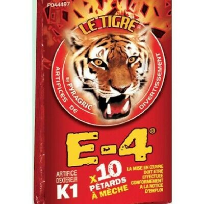 LOT DE 100 PÉTARDS À MECHE. LE TIGRE E4. 10 PAQUETS DE 10. demon